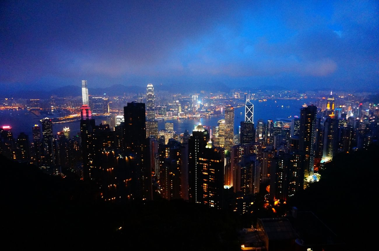 HongKong Night View Hongkong Island Victoria Peak