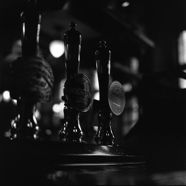 Happy Tap at London Pub taken with Film Camera + Black And White Ilford Film 6x6 Tlr Medium Format