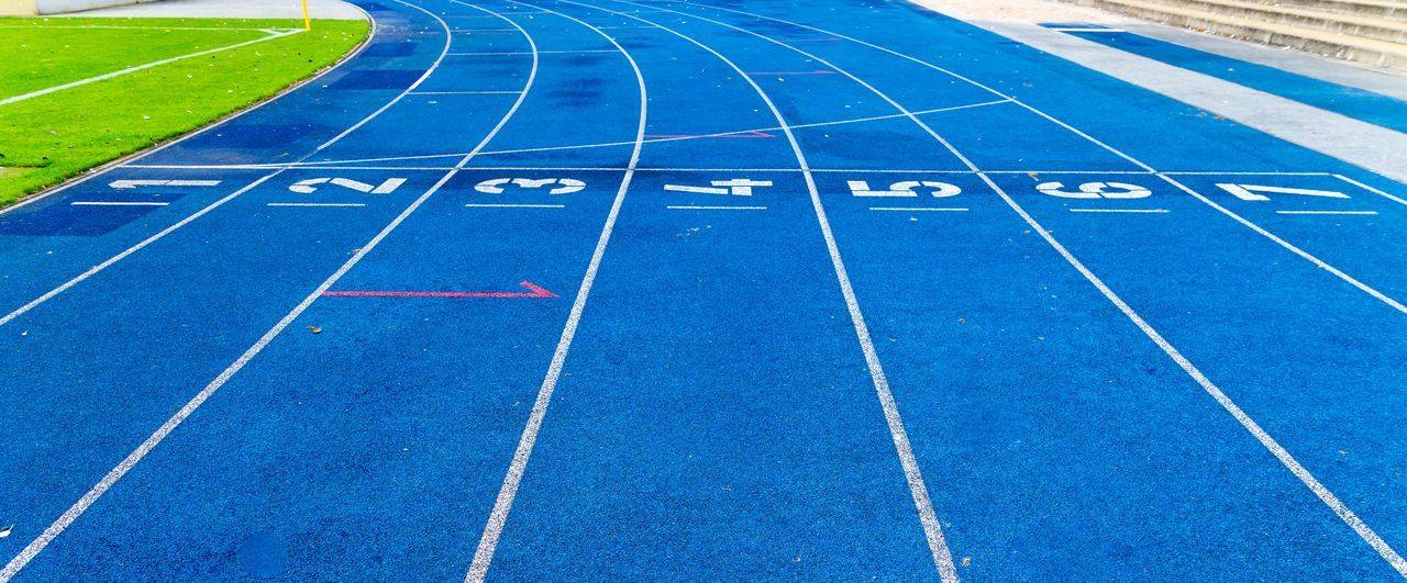 Blue Close-up Competition Competitive Sport Day Finish No People Objective Outdoors Race Line Running Track Single Line Sport Sports Race Sports Track Sports Venue Stadium Starting Line Target Track And Field Track And Field Stadium Ziellinie