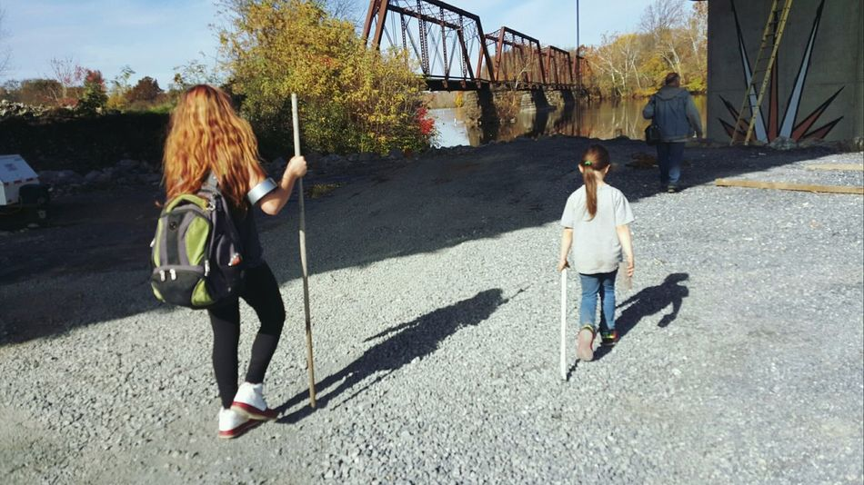 Nature walk Togetherness Sunlight Childhood Outdoors Leisure Activity Real People Sisterly Love Friendship Scenics Tranquility Beauty In Nature Forever Friends Water Underpass