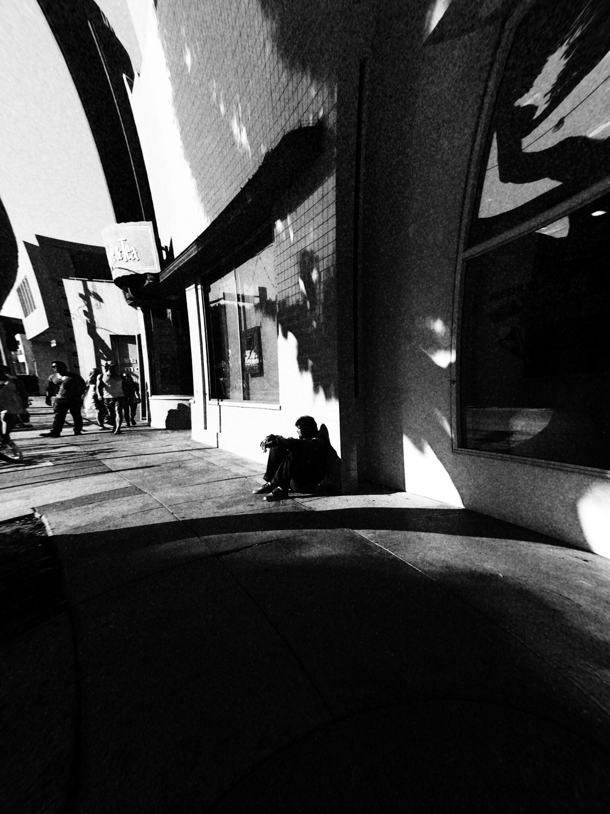 architecture, built structure, animal themes, pets, one animal, domestic animals, indoors, sitting, men, building exterior, sunlight, lifestyles, mammal, shadow, dog, person, leisure activity, incidental people, street
