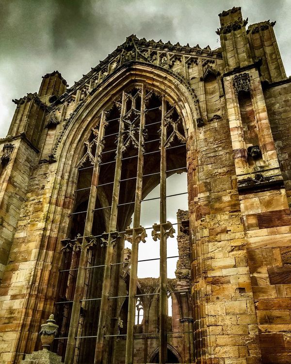 Architecture Built Structure Low Angle View Building Exterior History Run-down Old Ruined Old Ruin Obsolete Abandoned Arch Damaged Sky Deterioration Travel Destinations Cloud - Sky Architectural Column The Past Weathered Melrose Abbey