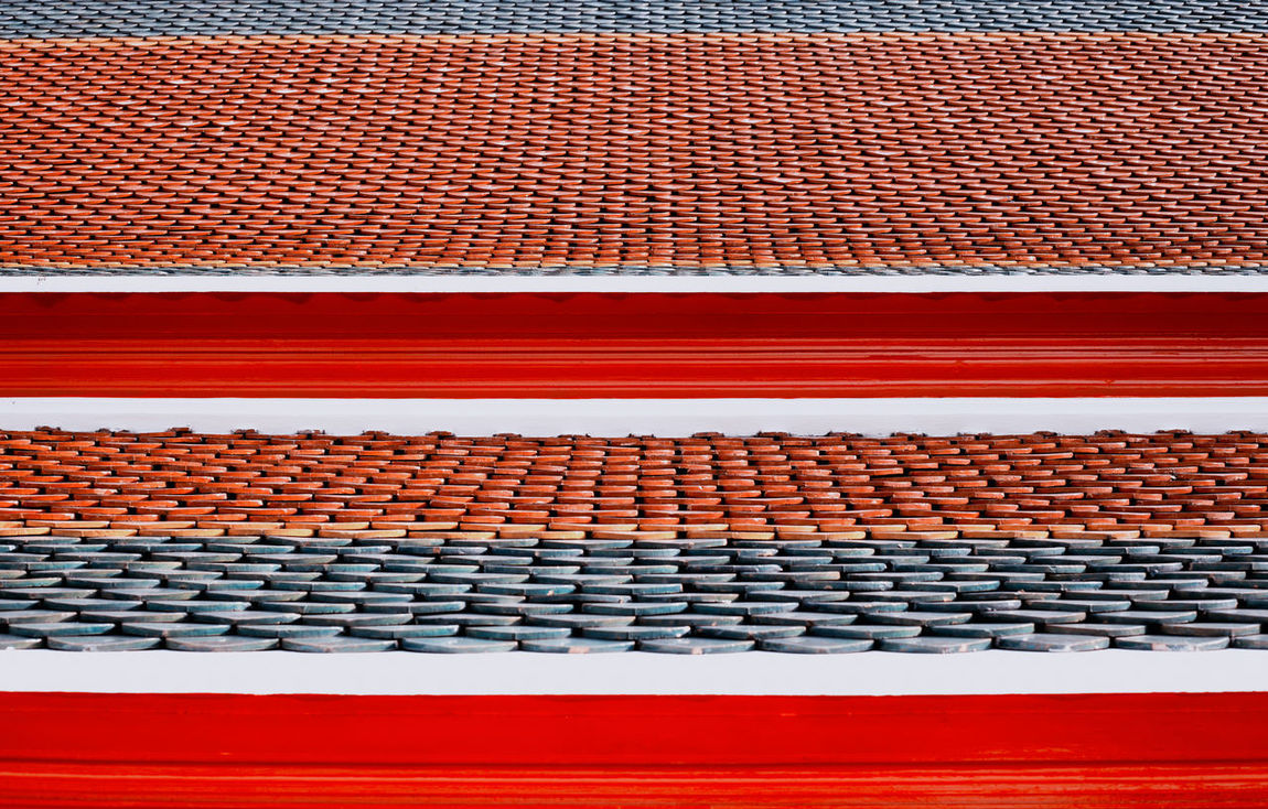 Red Roof Textured  Abstract Backgrounds Close-up Colorful Day No People Outdoors Red Red Color Temple Temple Roof Tile Tile Roof Tiled Floor Tiles Textures EyeEmNewHere