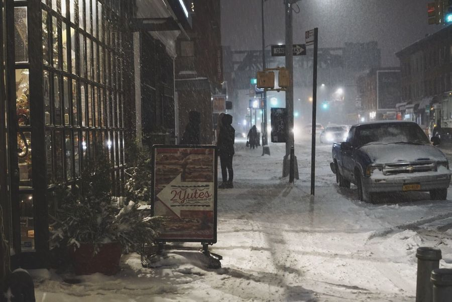 Car Night Built Structure Snow Architecture City Winter Illuminated Transportation Building Exterior Land Vehicle Cold Temperature Outdoors No People Snowing Nightphotography Walking In The Snow Brooklyn Snow Day Snow ❄ Street Light Street Night Lights Beauty In Nature Winter