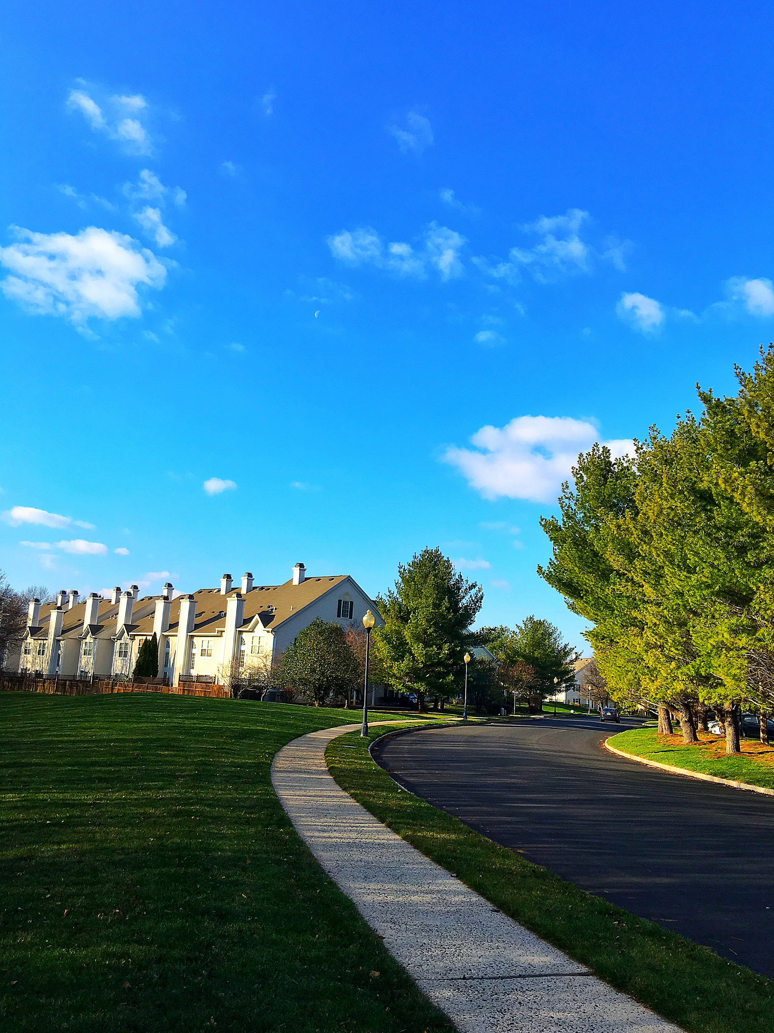 building exterior, architecture, sky, grass, built structure, tree, blue, cloud, cloud - sky, road, green color, sunlight, transportation, the way forward, day, outdoors, lawn, field, street, no people