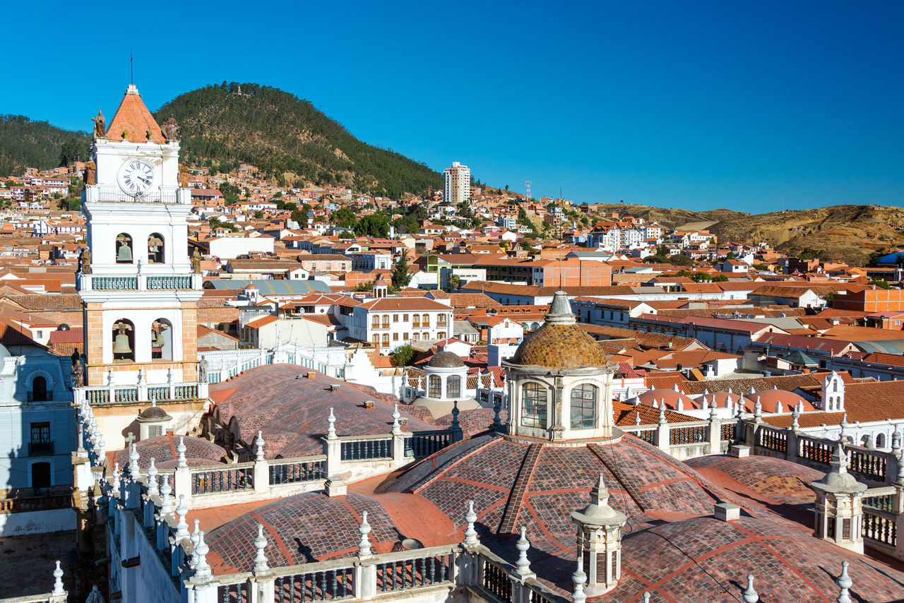 View of Sucre, Bolivia known as the White City Architecture Architecture Blue Bolivia Building Exterior Built Structure Cathedral Church City Cityscape Colonial Colonial Architecture Day Dome No People Outdoors Place Of Worship Religion Roof Sky Sucre Tourism Travel Travel Destinations White