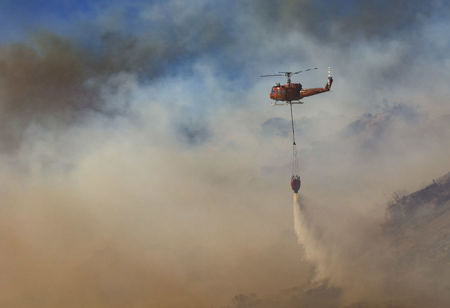 Air Vehicle Chopper Cloud - Sky Fire FireFighting  Flying Hellicopter Mountain Fire Nature Outdoors Sky