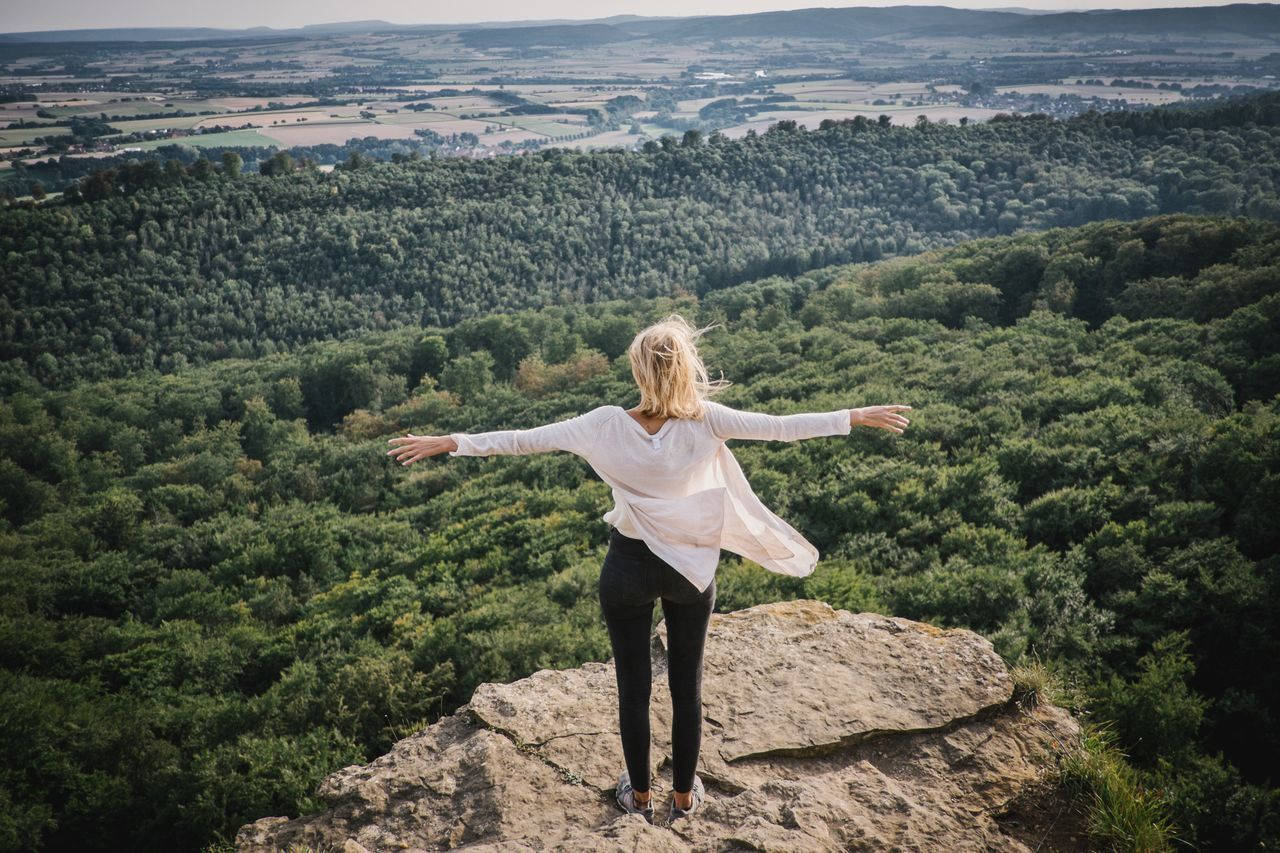 View over the Forest Mountain Model Blonde Girl Shooting Nature Beauty In Nature Outdoors