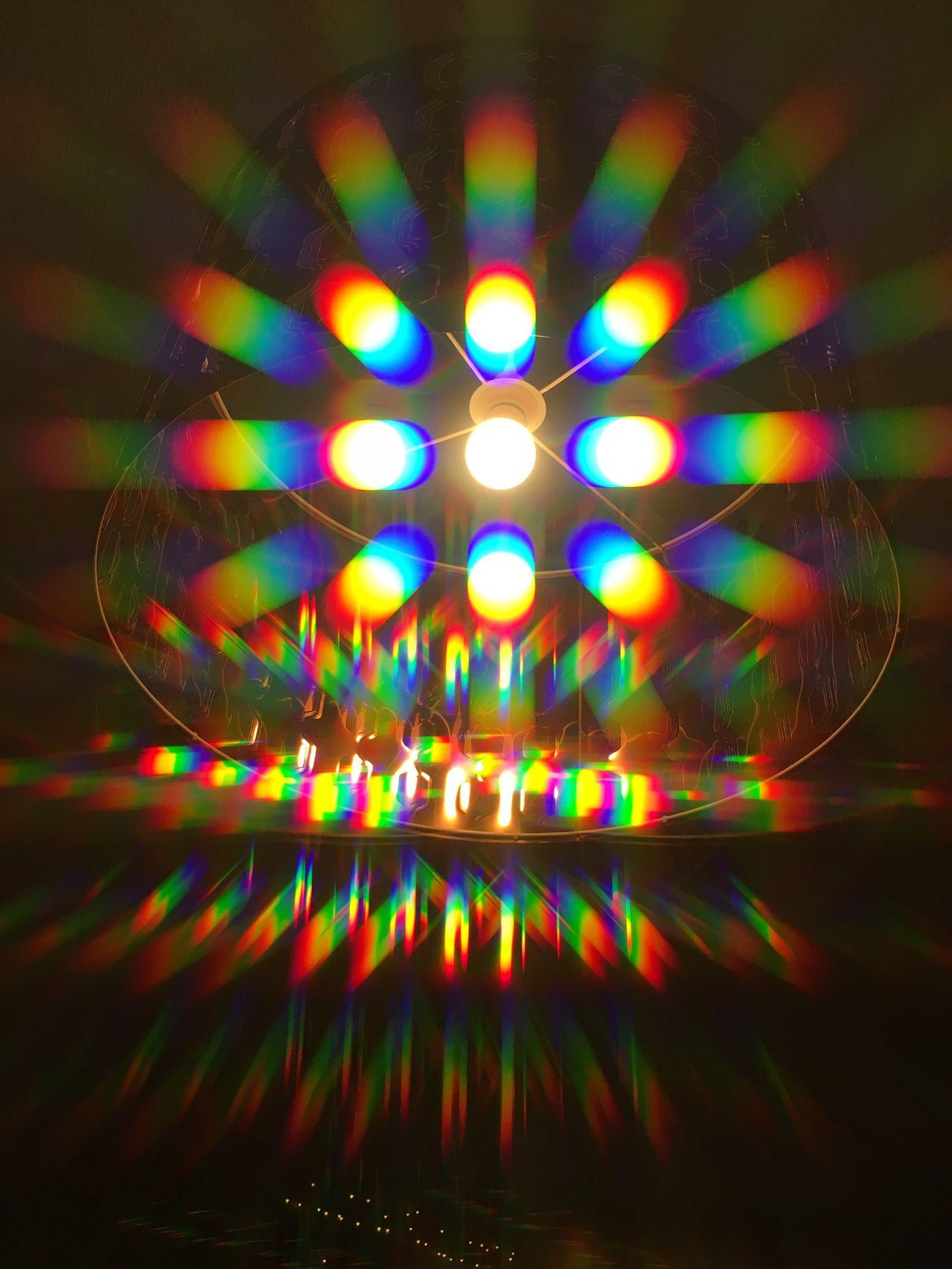 Multi Colored Illuminated Lighting Equipment Reflection Light Effect Night Indoors  Rainbow Prism Refraction Trippy