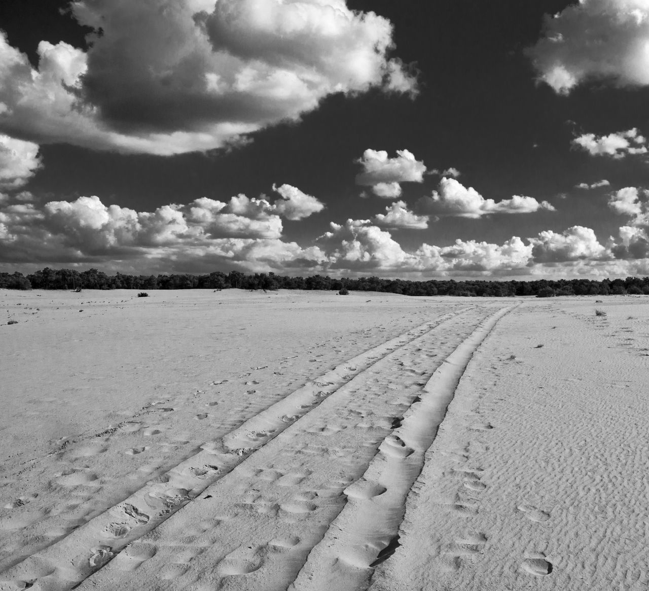 Blackandwhite Bnw Cloudporn Holland Landscape Landscape_photography Nature_collection Sand Dune Sand Road Sky And Clouds Traces