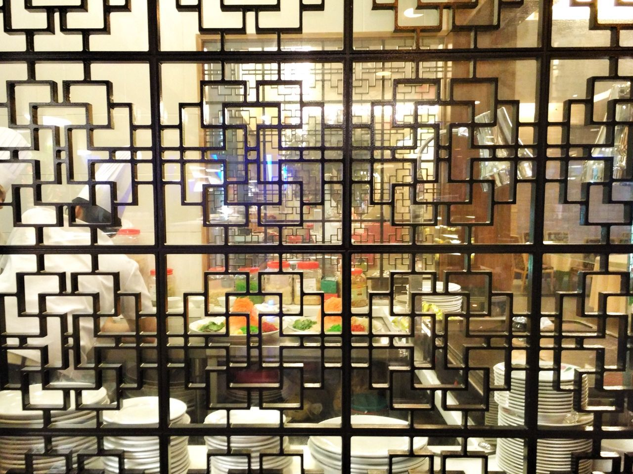 Full Frame Backgrounds Pattern Multi Colored Indoors  Architecture Building Structures Grills Patterns Chinese Patterns Kitchen Kitchen Grills See Through Through Shapes And Lines Shapes And Patterns  Shapes , Lines , Forms & Composition