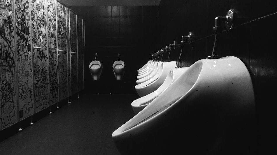 In A Row Indoors  No People Toilet Pissoir Club Clubbing Clean Nightlife Night Adult City Modern Blackandwhite Lifestyles Male Urban Empty Men Strassenfilm Black And White Friday