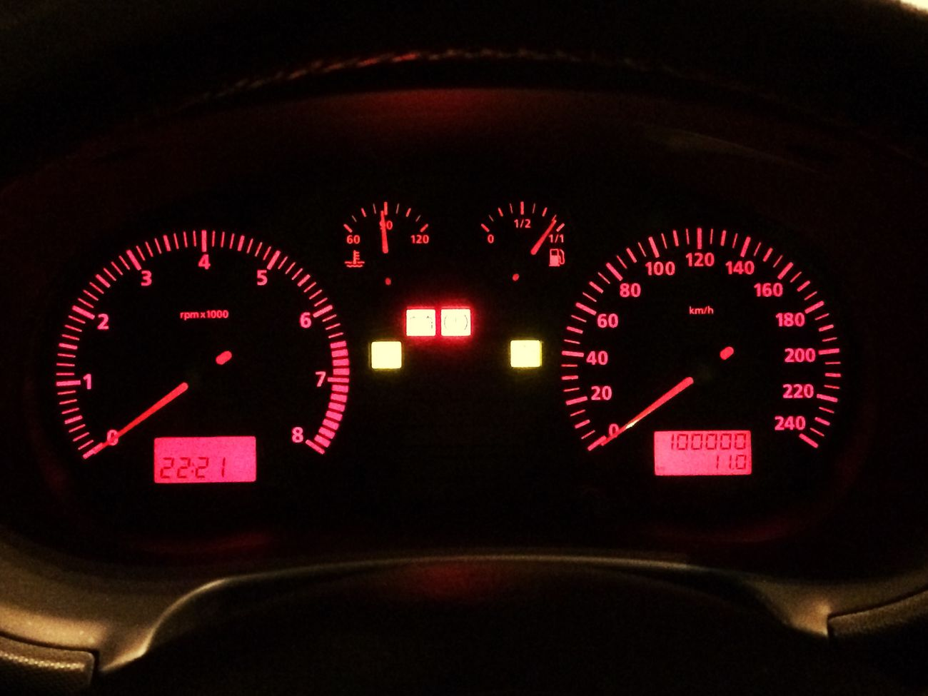 Dashboard Gauge Vehicle Interior Car Interior Transportation Speedometer Meter - Instrument Of Measurement Red Close-up Equipment Speed Land Vehicle Car Control Panel Illuminated Dial No People 100000km