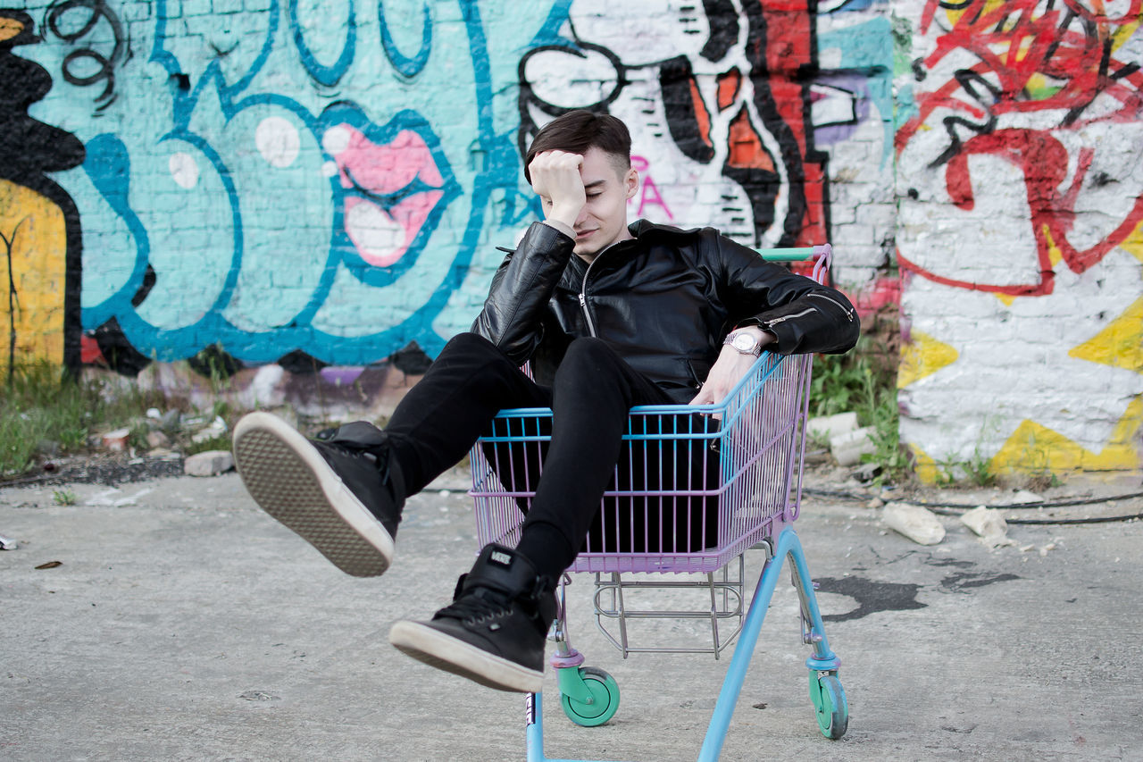 Emotions Graffiti Grocery Cart Hooligan Infringer Lifestyle Male Malemodel  Punk Punk Style Punkrock Streetart Streetstyle Subculture Teen Urban Style Young Youth