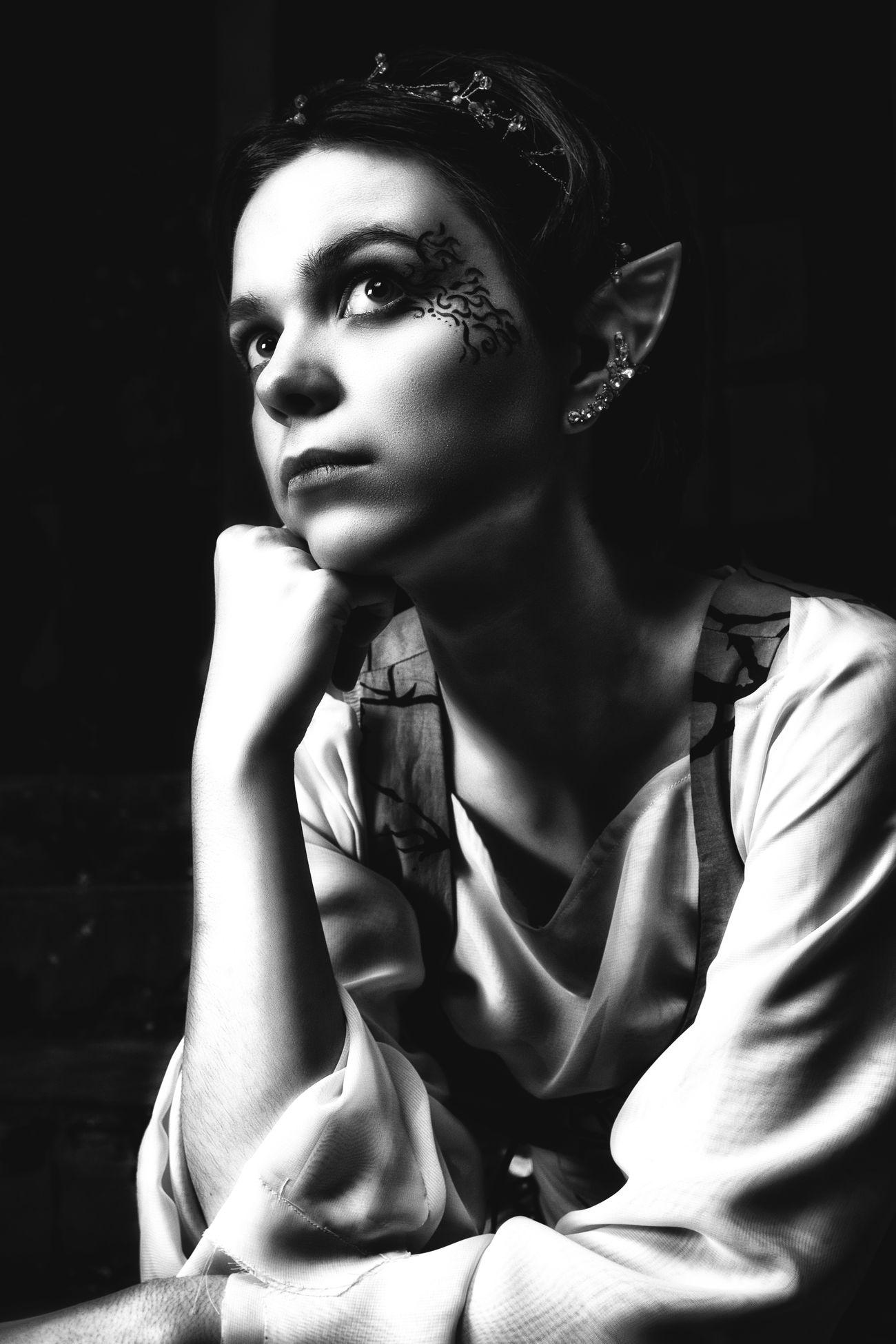 Blackandwhite Elf Elf Fantasy Fair Tales