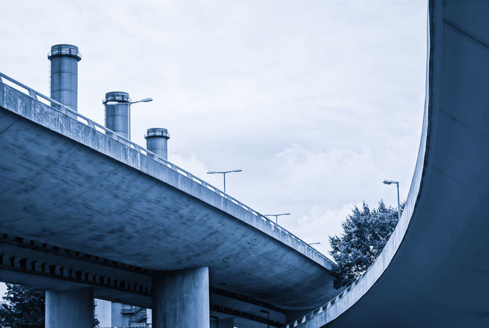A100 Architectural Column Architecture Autobahn Blue Bridge Brücke Built Structure Cloud - Sky Diminishing Perspective Engineering High Section Highway Low Angle View Modern Monochrome No People Outdoors Overcast Schornsteine Sky Stadtautobahn The Way Forward Pivotal Ideas Business Stories