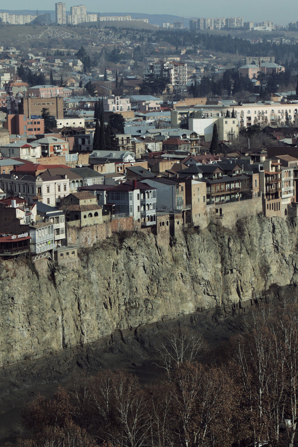 Tbilisi, Georgia Architecture Building Exterior Built Structure City Cityscape Crowded Day Dense Living Hillside View Neighborhood Old City Outdoors People Residential Building Sky Flying High