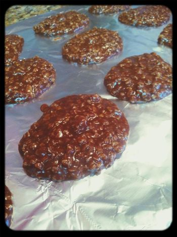 look what i made!! my daddys peanut butter chocolate oatmeal cookies!! im in heaven!