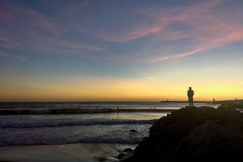 Sunset Beach Silhouette Sea Landscape Horizon Over Water Night Reflection Beauty In Nature Sky Lighthouse Vacations Outdoors Sand Surf EyeEmNewHere in Peniche, Portugal
