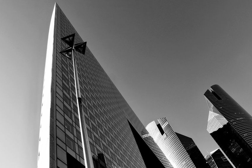 The Graphic City Architecture Bnw Bnw_collection Building Exterior Built Structure City Clear Sky Day Low Angle View Modern No People Outdoors Sky Skyscraper EyeEmNewHere