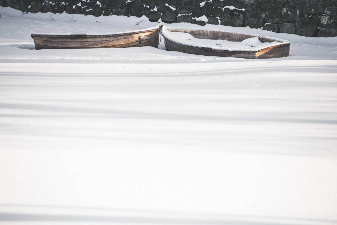 Boats On Snow Covered Field