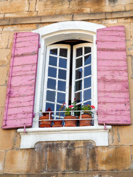House Mediterranean  Old Pink Pottedplants Shutters Vacation Window