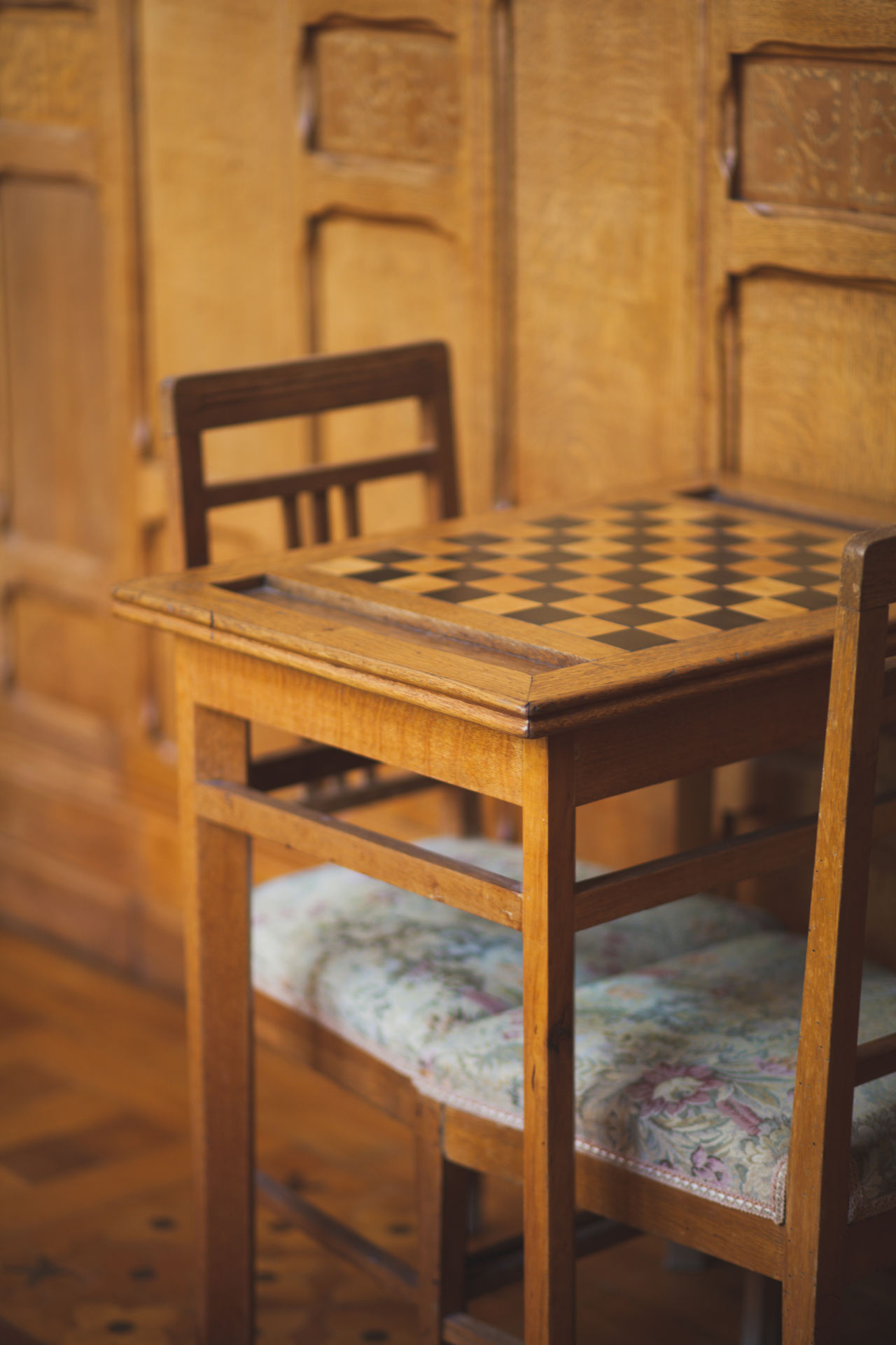 Wood - Material No People Indoors  Day Chess Chess Board Vintage Furniture Old Table Chair Board Wall Game