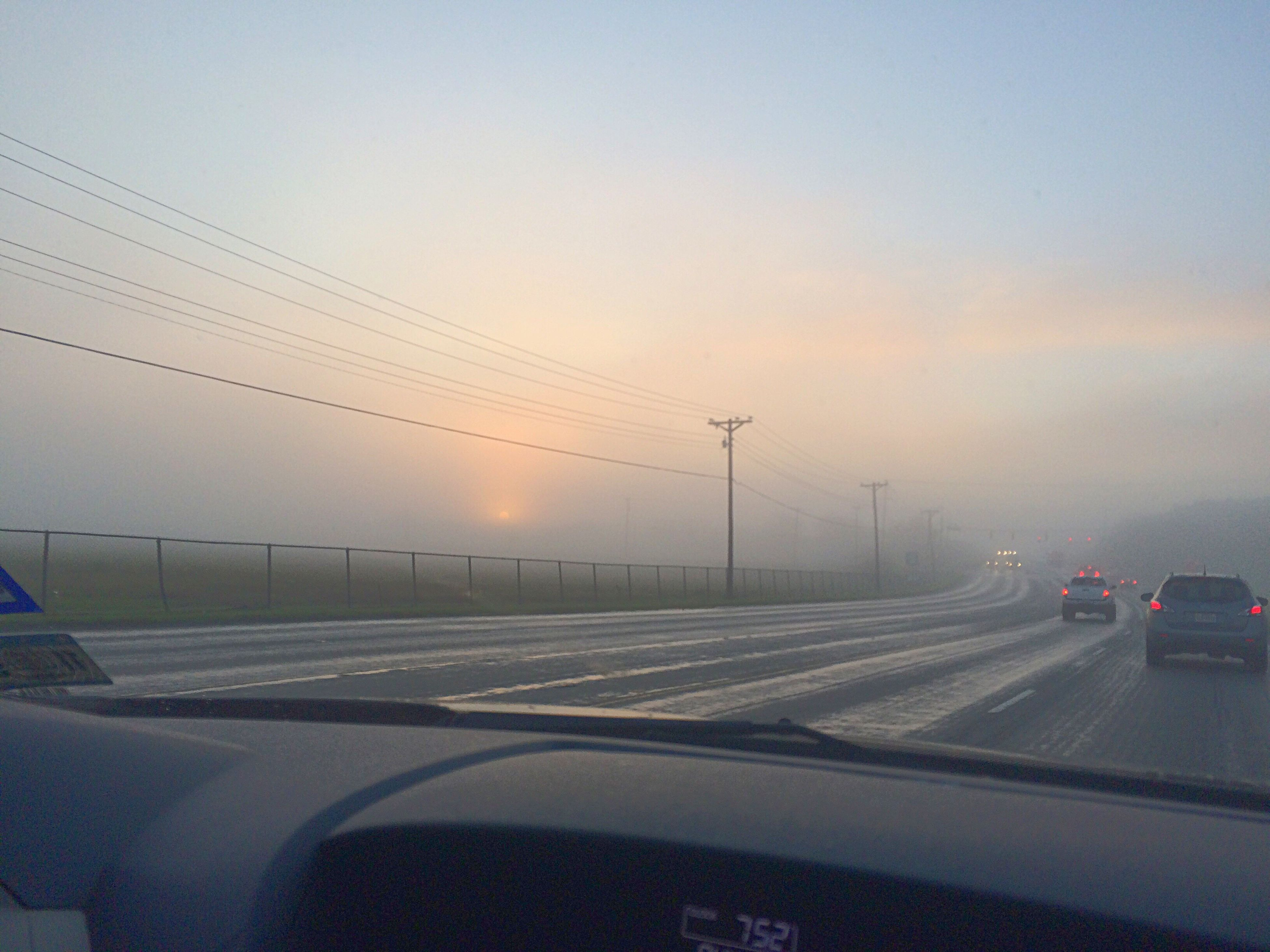 car, transportation, land vehicle, mode of transport, road, no people, car point of view, windshield, sunset, car interior, cold temperature, sky, winter, nature, outdoors, day