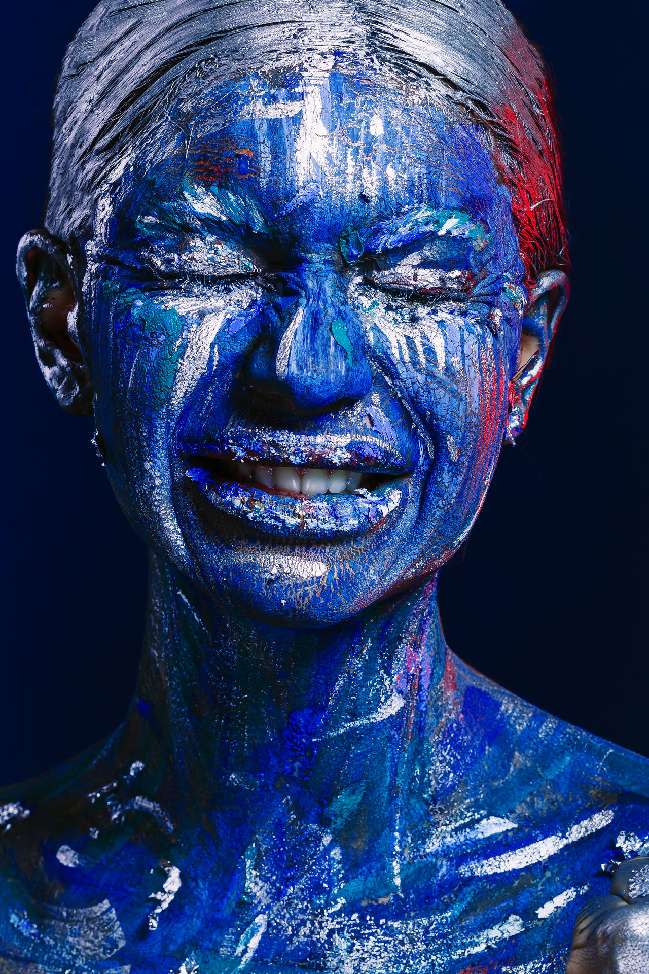 Beauty Beauty Product Bizarre Blue Body Paint Close Up Close-up Uniqueness Face Paint Faces Of EyeEm Fantasy Fantasy Dreaming Fantasy Photography Fashion Futuristic Headshot Human Face Human Lips Make-up Multi Colored Multicolored Multicolors  Stage Make-up Studio Shot Technology