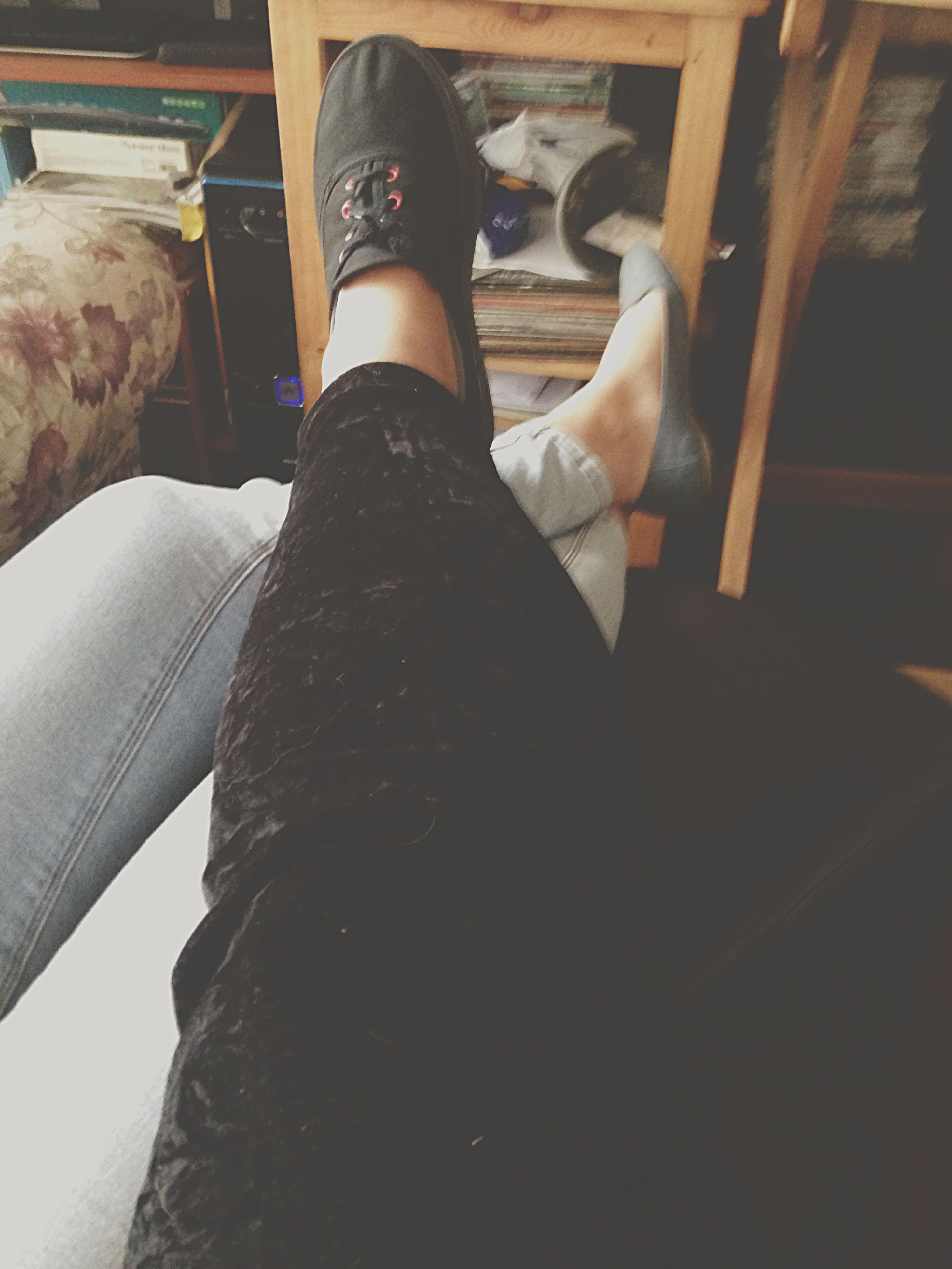 low section, person, lifestyles, indoors, shoe, men, leisure activity, human foot, sitting, part of, standing, unrecognizable person, personal perspective, jeans, sunlight, day
