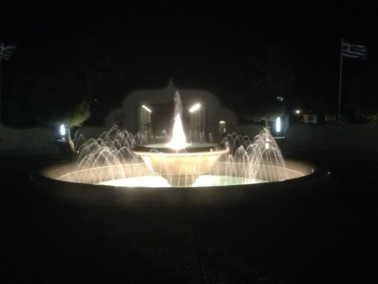Fountain Greece Illuminated Kalithea Springs Light Night No People Outdoors Rhodos Summer