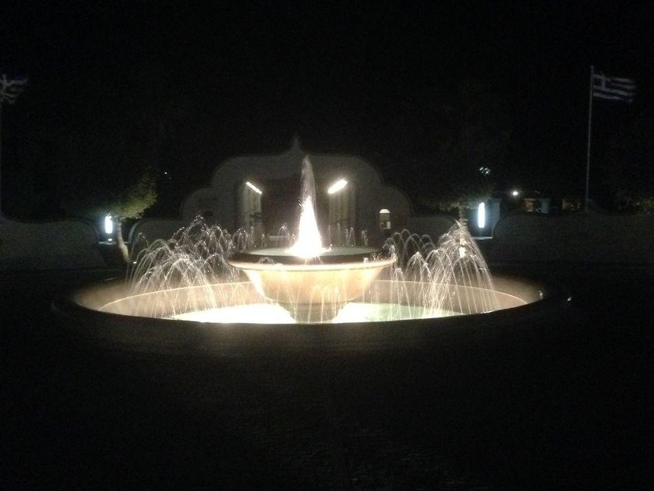 Fountain Greece Illuminated Kalithea Springs Light Night No People Outdoors Rhodos Summer
