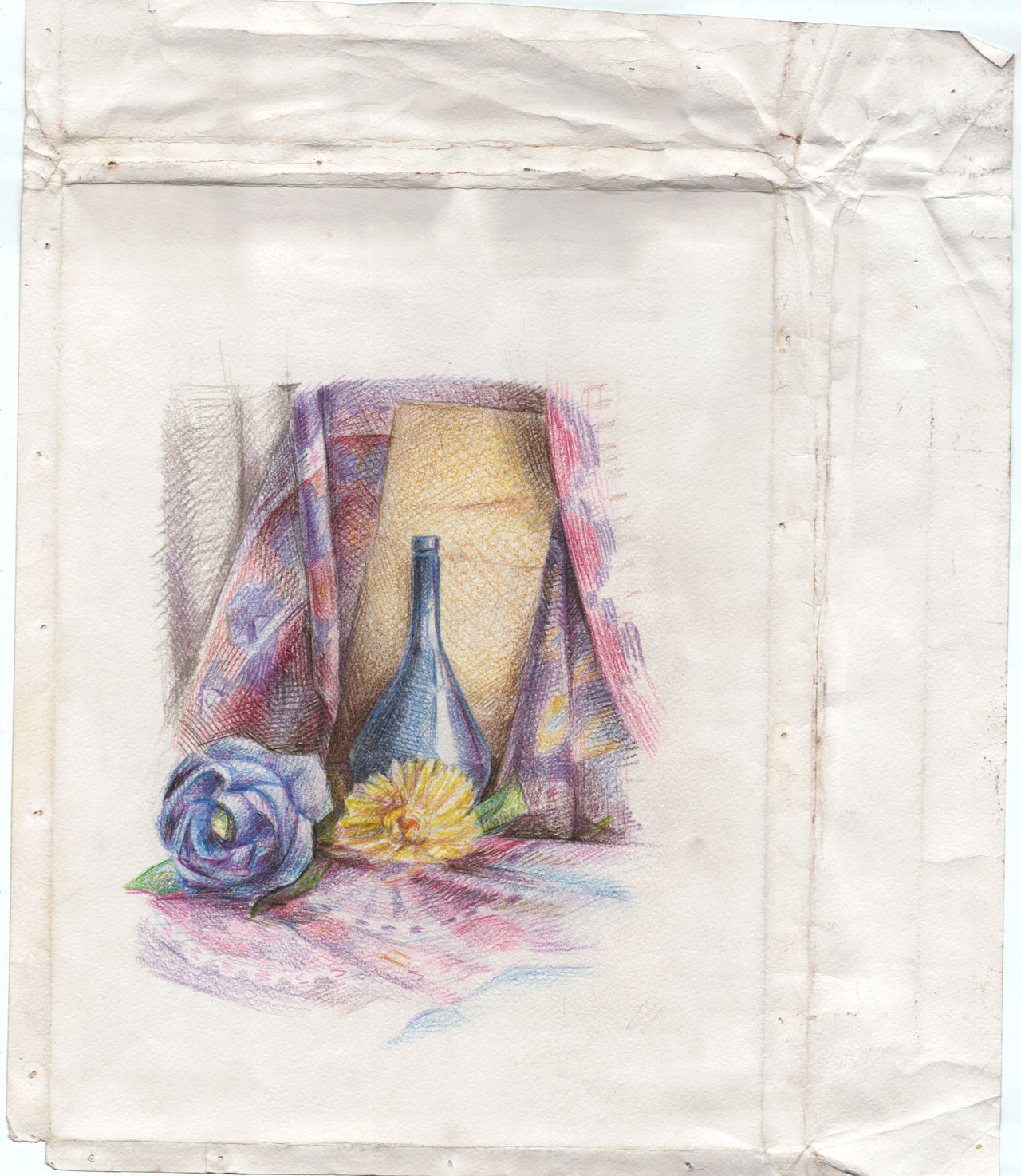Stady Sketch Studentwork Art Stady Craftpaper ArtWork Indoors  Handmade Pencil Art Sketching Exebithion Jag Flower Flower Head Flower Nature Naturmort Crop  OldPaper Old Paper Colored Pencil