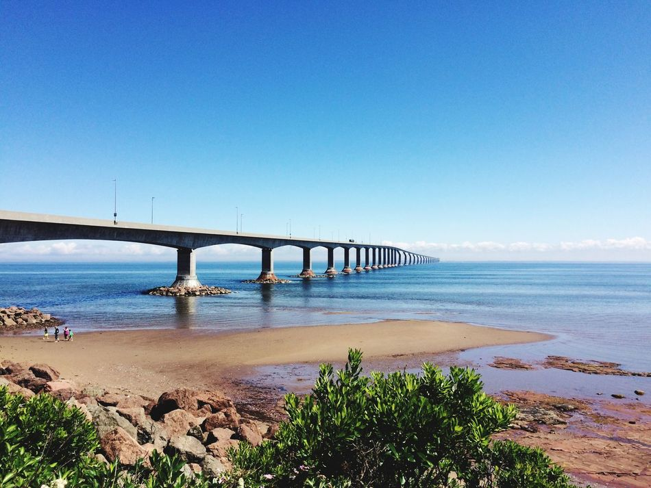 Confederation Bridge Sea Clear Sky Bridge - Man Made Structure Water Built Structure Blue Horizon Over Water Nature Architecture Scenics Day Connection Tranquility Tranquil Scene Beauty In Nature Outdoors Travel Destinations Sky Beach No People Confederationbridge Princeedwardisland