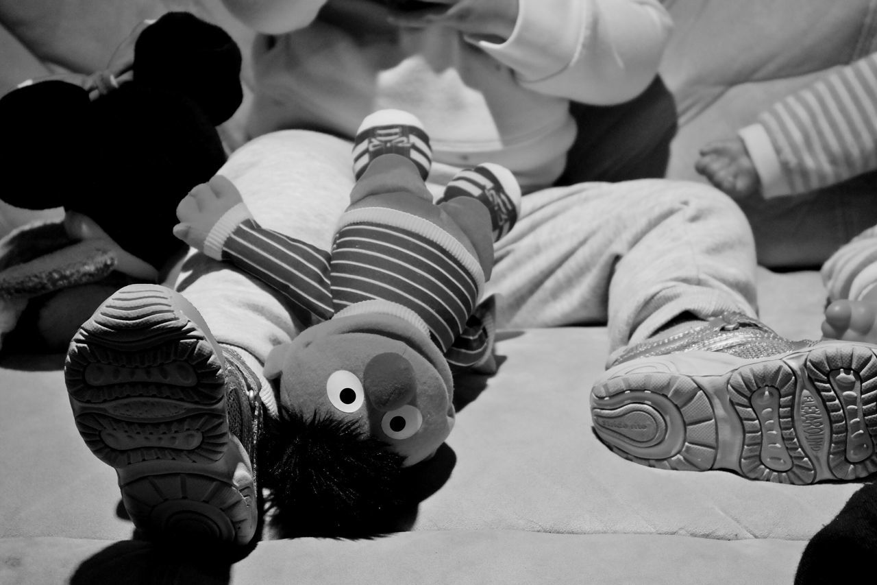 Play time with Ernie. Ernie Bert And Ernie Playtime Playing Stuffed Animals Stuffed Doll Blackandwhite Black & White Black And White Photography Blackandwhite Photography Black And White Babygirl