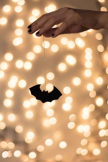Bat Bokeh Dark Decoration DIY Electric Light Festive Season Glowing Halloween Hand Handmede Hanging Happy Halloween Ideas Illuminated Indoors  Light Selective Focus