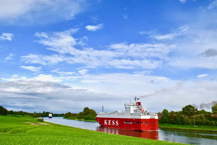 Frühling am Nord-Ostsee-Kanal Beauty In Nature Cloud - Sky Container Day Deutschland Germany Grass Growth Lighthouse Mode Of Transport Nature Nautical Vessel No People Nord-Ostsee-Kanal Outdoors Scenics Schleswig-Holstein Sky Transportation Tree Water Neighborhood Map