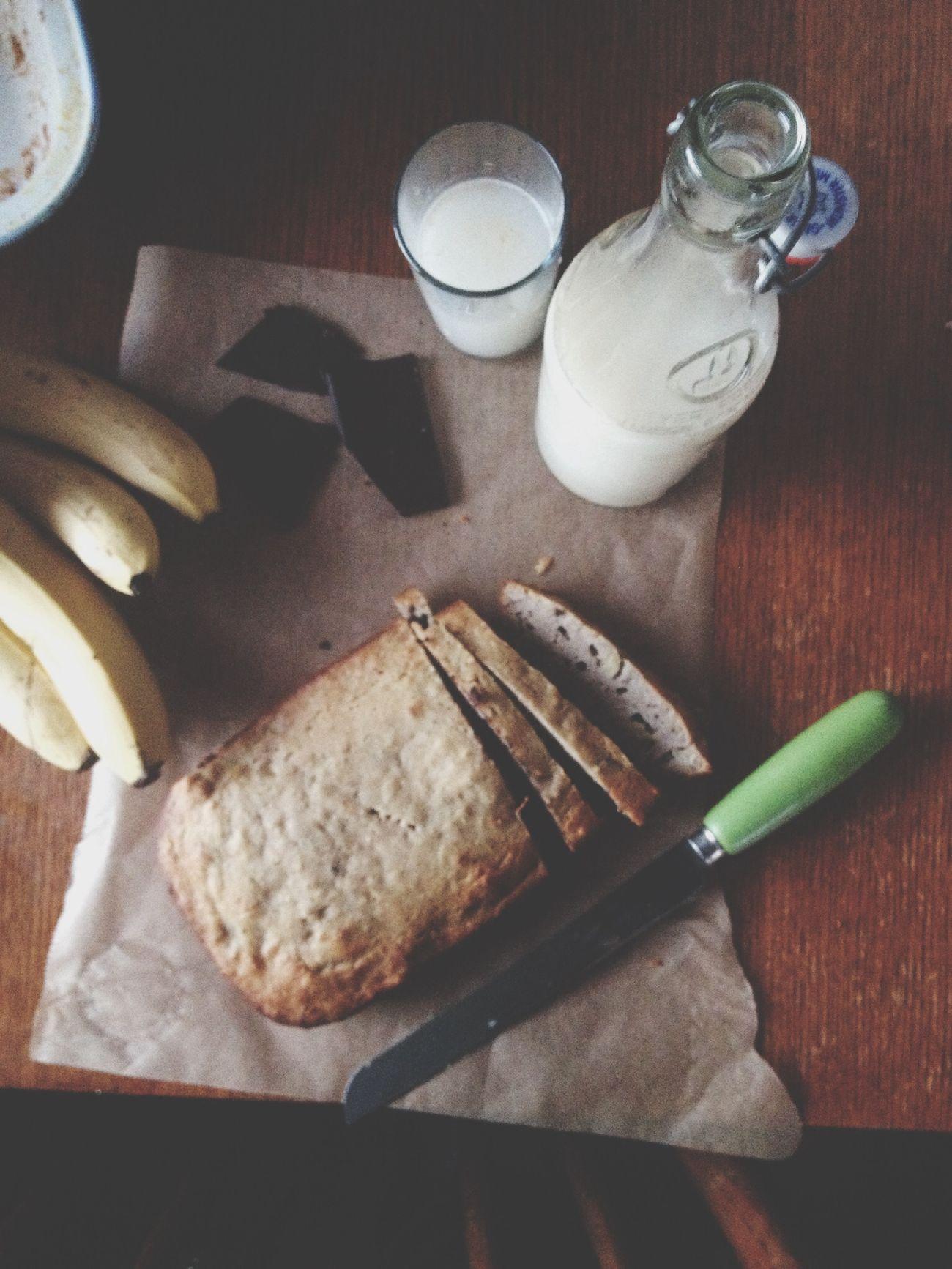 Buckwheat banana bread 'n dark chocolate with oat milk aka Sunday Bakeit Makeit Eatit