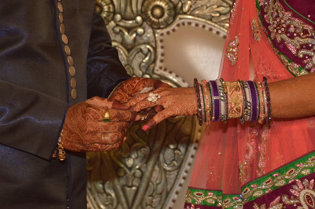 Cultures Bride Wedding Celebration Wedding Ceremony Adults Only Life Events Bangle Human Hand Traditional Ceremony Midsection Religion Indoors  Close-up Two People Adult People Bridegroom Human Body Part Traditional Clothing Ring Ceremony