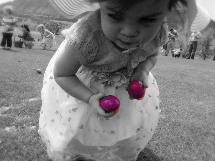 Young girl, eggs, Easter