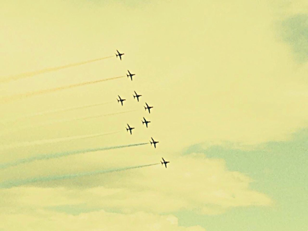 EyeEmNewHere Red arrows planes display teams sky trails colour flight formation cosford Flying Sky Low Angle View Teamwork Airshow Speed Cloud - Sky Fighter Plane Air Vehicle Arrangement Airplane Mid-air Silhouette Motion Outdoors Formation Flying Military Airplane Togetherness No People Day