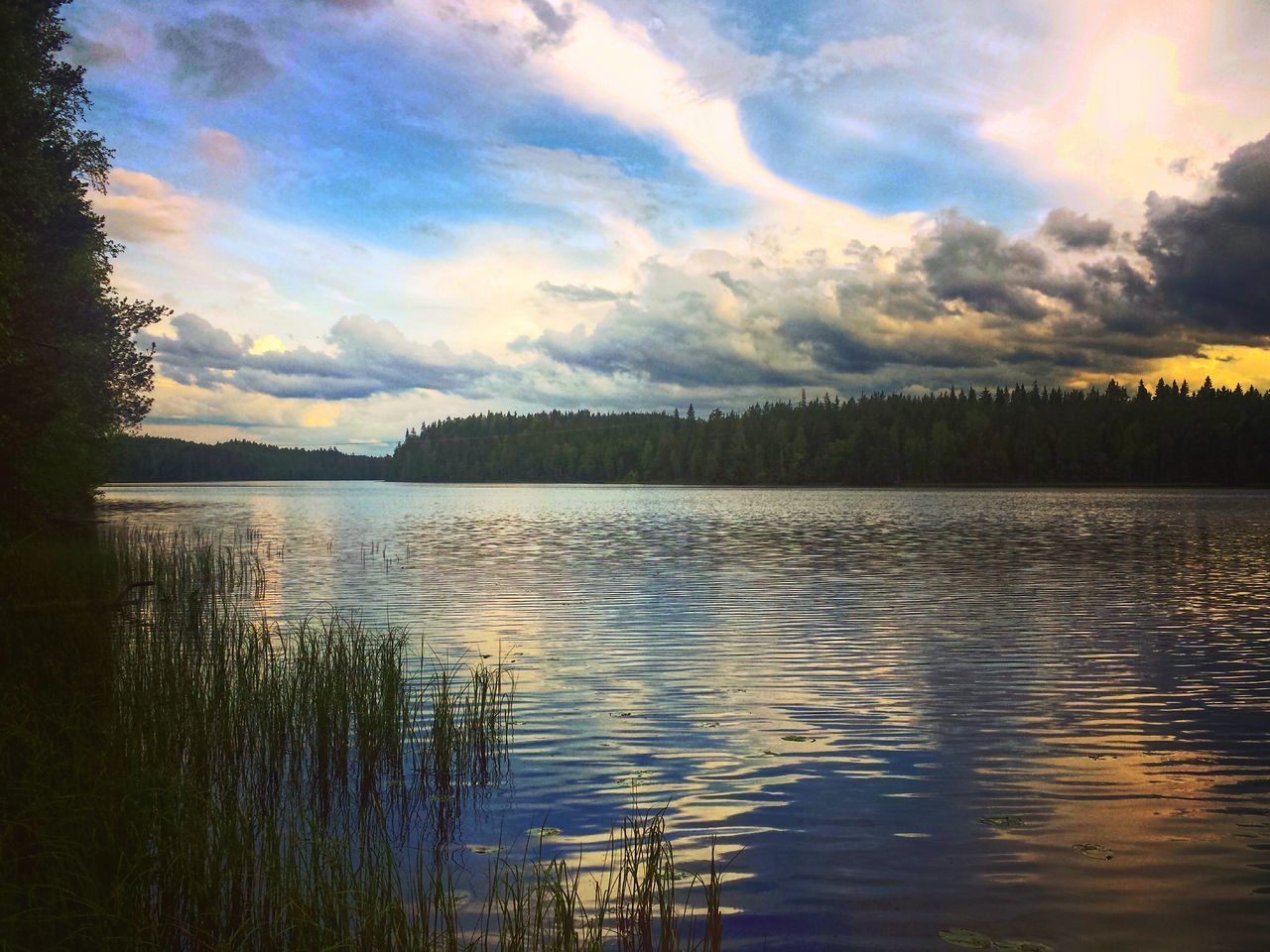 Summer evening Lake Reflection Water Nature Sky Outdoors Landscape_photography Naturebeauty Finnish Nature Photography Nature Photography Photographer Colourful Day Naturelovers Beauty In Nature Summertime Landscape Cloudscape Summer Memories... Colorful Lake View Dramatic Sky Daytime Evening Sky