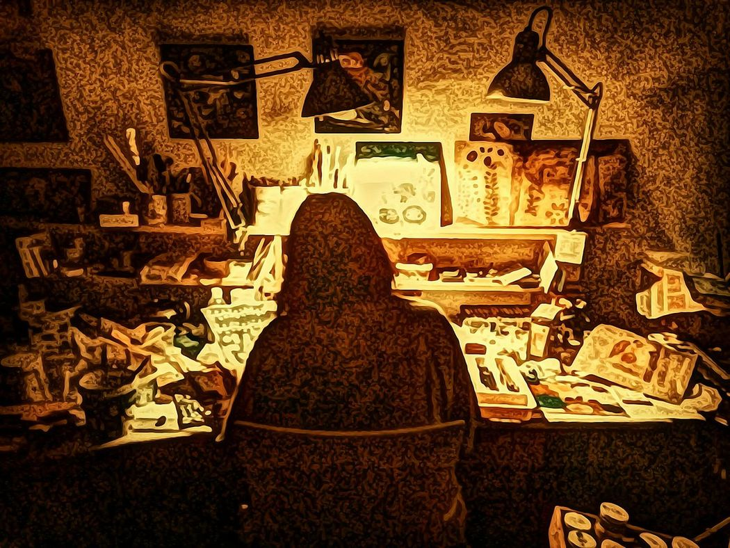 Heather Fifield - the artist at work. Artist Working Artist Artist In Studio Mixedmedia Creative Squirrel Heaven Creating Art Heather Fifield Art Heather Fifield Filtered Image Deep Filtering Deep Filtered Image Awehaven Art The Innovator Art, Drawing, Creativity Art And Craft Arts And Crafts Artistic Expression