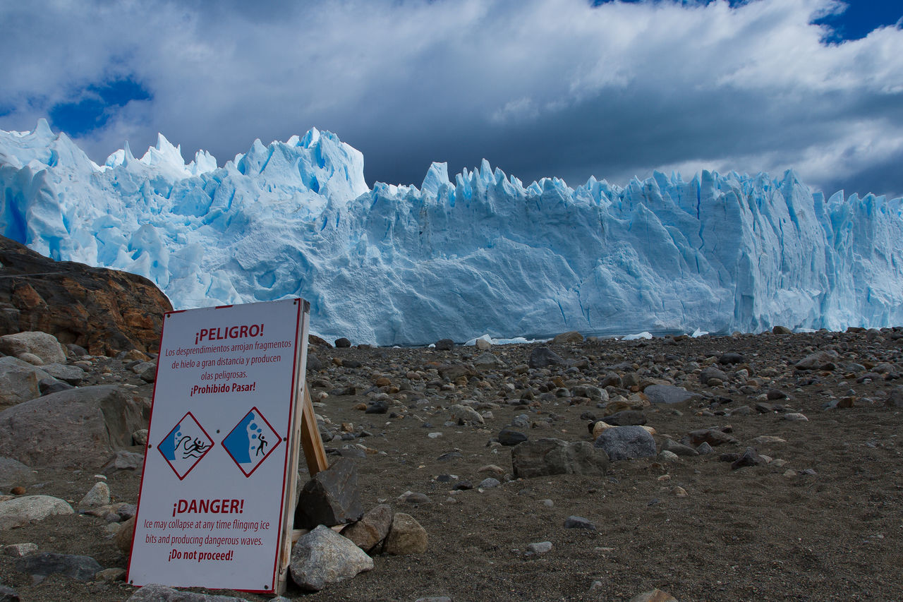 Beauty In Nature Blue Sky Cold Temperature Communication Danger Sign Danger Zone Glaciar Perito Moreno Glacier National Park Hielo Ice Information Sign Nature No People Outdoors Sky