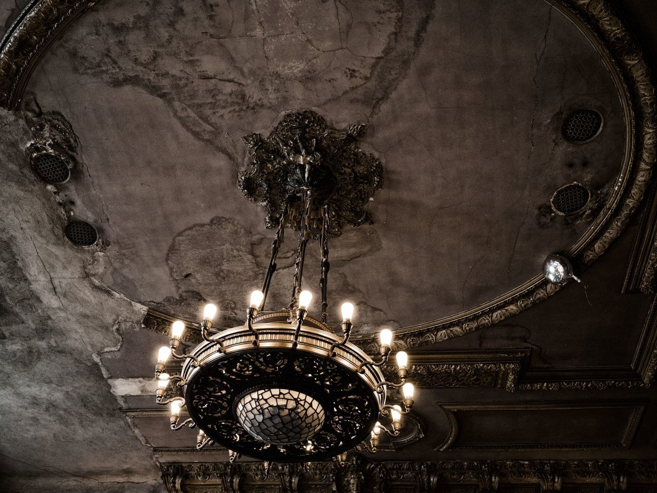 Candles Dining Room Table Cloth Architecture Built Structure Candle Lit Dinner Chandalier Close-up Dance Hall Day Decadent East Berlin Faded Elegance Germany Hanging Illuminated Indoors  Light Bulb Lighting Equipment Low Angle View Luxury No People Pre-war