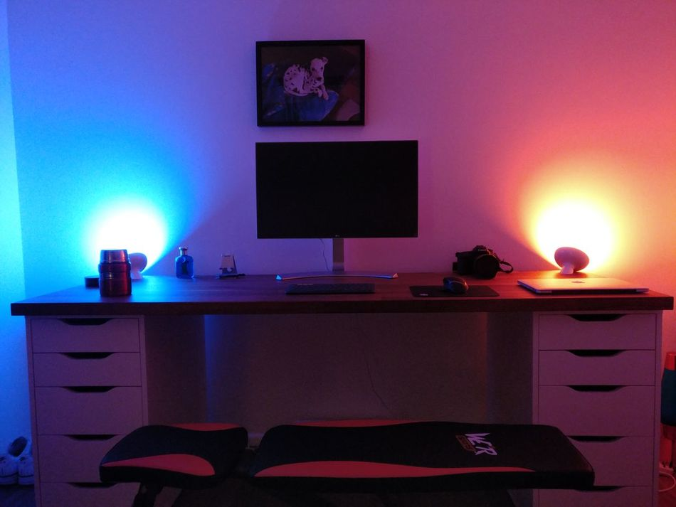Desk setup. Home Interior Night Illuminated Desktour Desksetup Office
