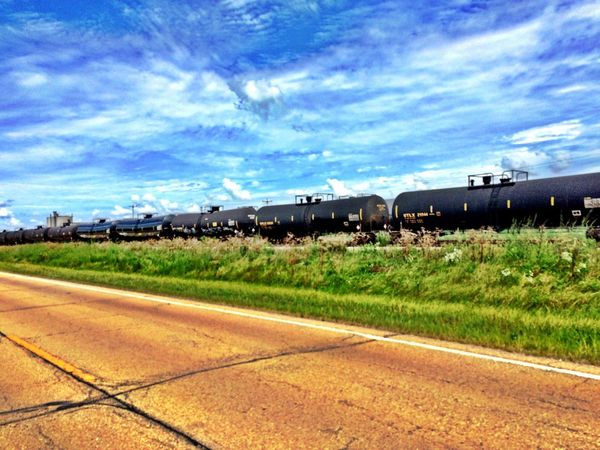 Train Locomotive Perspective High Definition Sky And Clouds Dramatic Sky From The Road Lines Outdoors Colour Of Life No People In A Row Diminishing Perspective
