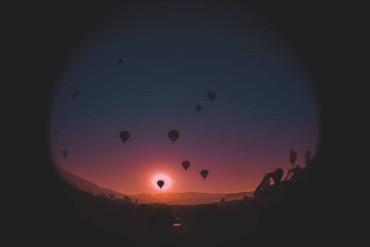 Fisheye Fish Eye Fish Eye Lens Sky Edited Nature Hot Air Balloon Balloon Balloons Nature Photography Landscape Landscape Photography Landscapes Landscapephotography Sunset Silhouette Sun Sunlight Nature Outdoors Flying No People Sunlight Sunlight And Shadow Perspectives On Nature