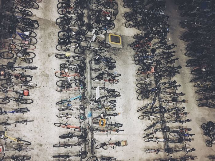 High Angle View Outdoors Bicycle Overcrowded Singapore Space Constraint Bicycle Rack Looking Down Miniature Scale  Backgrounds Building Exterior Architecture Large Group Of People Embrace Urban Life Colour Your Horizn
