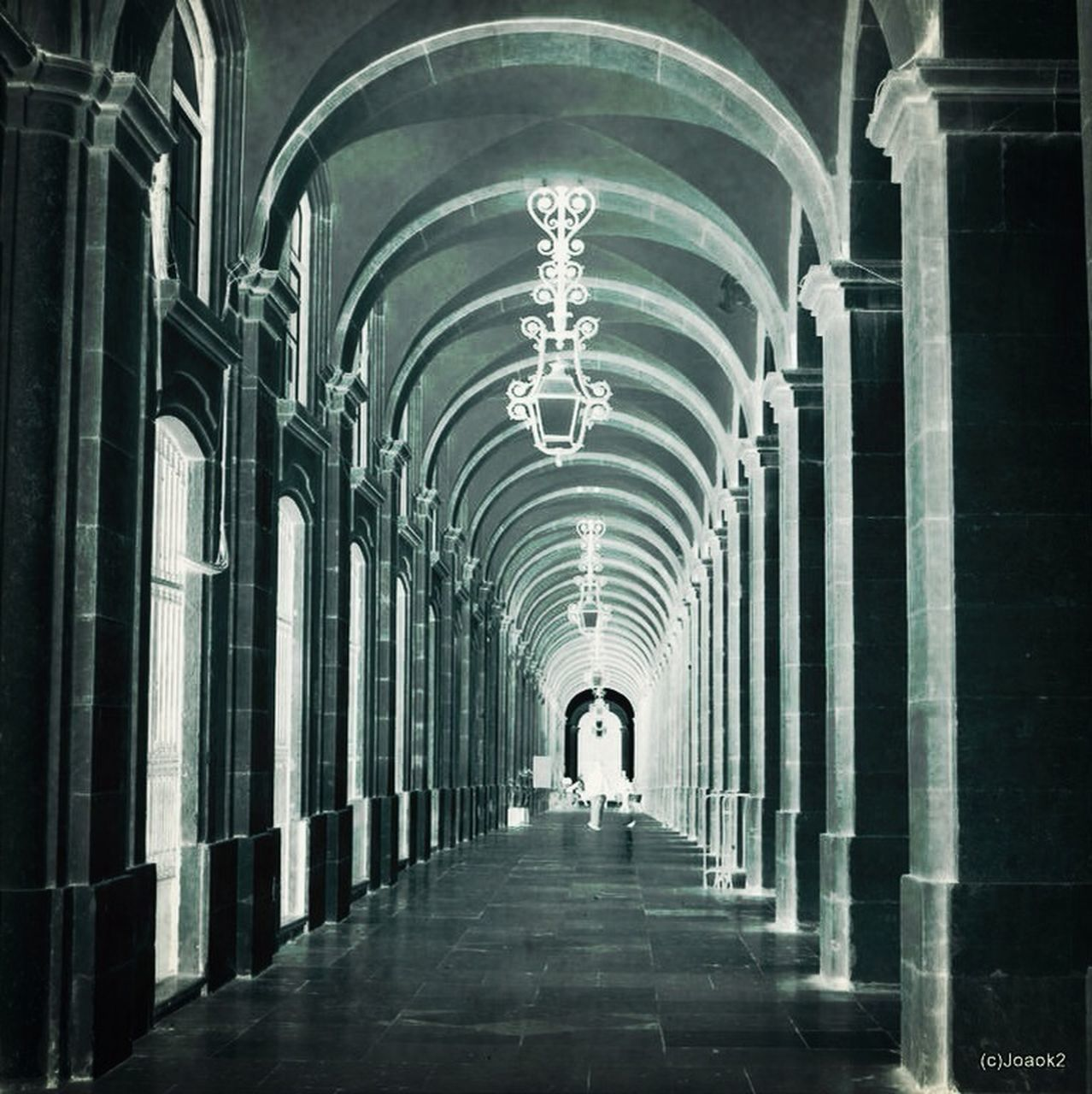 arch, architecture, the way forward, indoors, built structure, corridor, in a row, diminishing perspective, architectural column, history, full length, day, one person, people